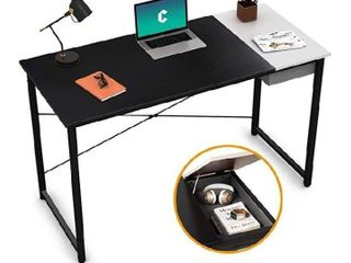 Cubiker Computer Desk 47  Home Office Writing Study laptop Table  Modern Simple Style Desk with Drawer  Black White