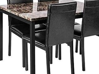 Hooseng Faux Marble Dining Table Only  Perfect for Bar  Kitchen  Breakfast Nook  living Room  Black