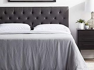 lUCID Upholstered Bed with Square Tufted Headboard  linen Inspired Fabric aSturdy Wood Build aNo Box Spring Required Platform  Queen  Charcoal