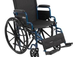 Drive Medical Blue Streak Wheelchair with Flip Back Desk Arms  Swing Away Footrests  18  Seat