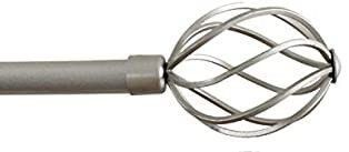 H VERSAIlTEX Window Curtain Rod Set  Adjusts Rod length from 48 to 84 Inch  3 4   Inch Diameter  Twisted Sphere Finials  Nickel