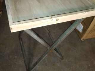 Wood and Metal Folding Table 22x22x26 inch