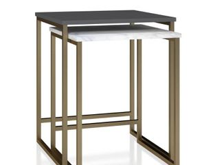 Scarlett Nesting Tables White Faux Marble Graphite Gray   Cosmoliving by Cosmopolitan
