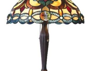 Chloe Tiffany Style Victorian Design 2 light Antique Bronze Table lamp Brown  Blue  Green