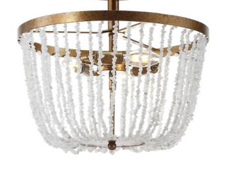 Georgian 15  Stone Metal lED Flush Mount  Antique Gold   White