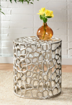 Doyers Modern Aluminum Mesh Accent Table  Nickle