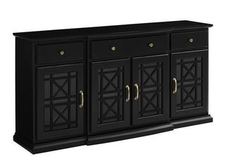 60  Tiered Fretwork Sideboard   Black