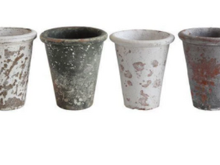 6 1 4 h Clay Pot  Distressed  Set Of 4 Black And White