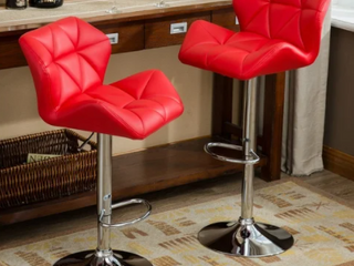 Glasgow Faux leather Tufted Adjustable Barstool