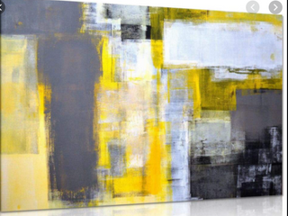 Abstract Art Canvas Yellow and Gray
