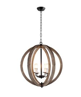 Capoli 4 light Wooden Orb Chandelier