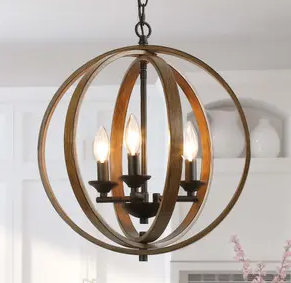 The Gray Barn Whitethorn 4 light Faux Wood Globe Chandelier lighting   W20  x H22  Retail 209 49