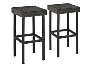 Set of 2 Black Woven Wicker Bar Stools