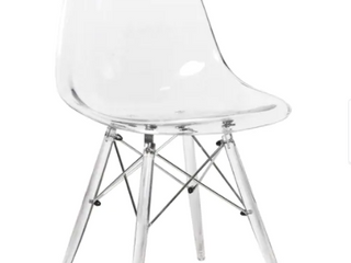 leisuremod Dove Clear molded side dining chair with acrylic Ethel base