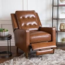 Abbyson Holloway Mid-century Top Grain Leather Pushback Recliner- Retail:$739.99 camel