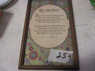My Mother Framed Verse