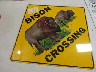 Bison Crossing Metal Sign