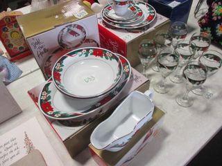 Tienshan 8 Place Dish Set   Glasses