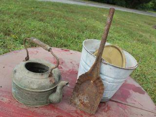 Antique Kettle  Vintage Aluminum Bucket and Scuttle Shovel