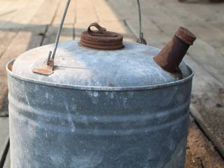 Cool Antique Metal Oil Can with Lid and Spout Intact