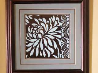 Square 22  Double Matted Bronze and lt  Blue Floral Wall Art