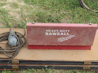 Vintage Heavy Duty Sawzall Box with Assorted Vintage Tools and Work light