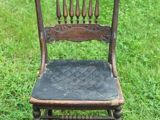 Antique Pressed Carved Wood Spindle Back Chair with Leather Seat