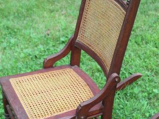 Antique Sewing Rocker with Cane Seat and Back