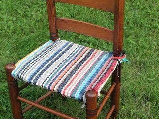 Cool Vintage Wooden Side Chair w/ Rag Rug Seat