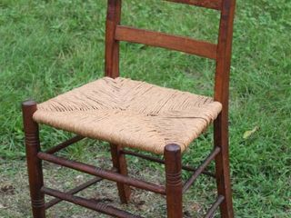 Cool Vintage Wooden Chair W/ Woven Seat