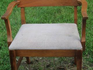 Vintage Mid Century Wooden Armchair w  Upholstered Seat