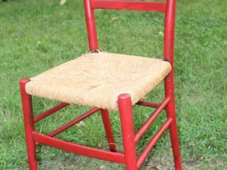 Vintage Ladderback Chair with Woven Seat