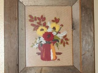 Vintage Farmhouse Framed Needlepoint Art 17 5  x 15