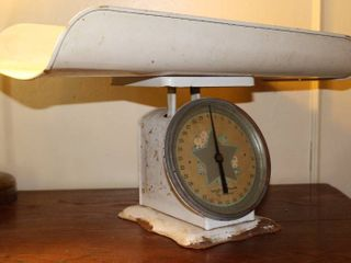 Vintage White Metal Baby Scale with Tray