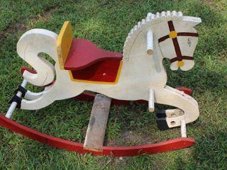Vintage Childs Solid Wood Rocking Horse