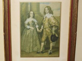 Matted and Framed 1926 KC Star Print of Prince William II of Orange and Mary Stuart