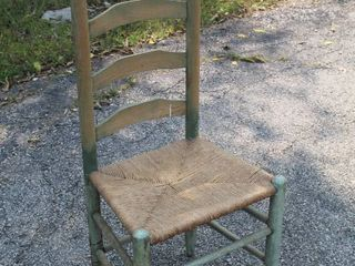 Antique ladderback Chair with Woven Seat