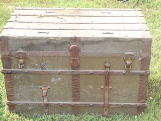 Cool Vintage Antique Trunk 24  Tall x 36  long x 21  Deep