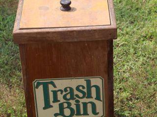 Vintage Wooden Trash Bin with lid