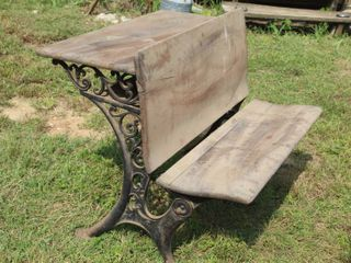 Antique  2  Child Wood and Cast Iron School Desk 39 5  Wide x 29  Tall x 35  Deep