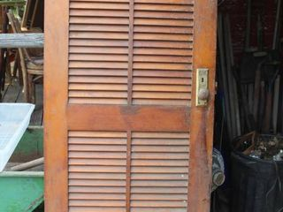 Wooden Slat Style Vintage Door with Hardware Attached 72 5  Tall x 32  Wide x 1  Thick