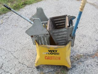 Commercial Mop Bucket with  2  Vintage Mop Wringers