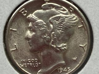 1945 D Mercury Head Silver Dime