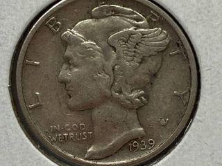 1939 Mercury Head Silver Dime