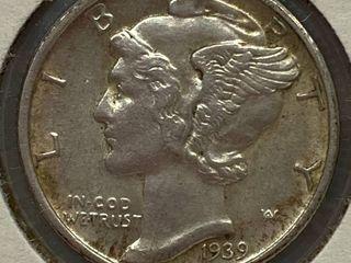 1939 D Mercury Head Silver Dime