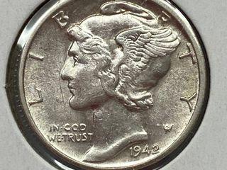1942 D Mercury Head Silver Dime