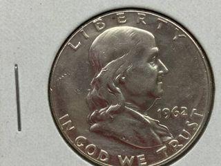 1962 Ben Franklin Silver Half Dollar