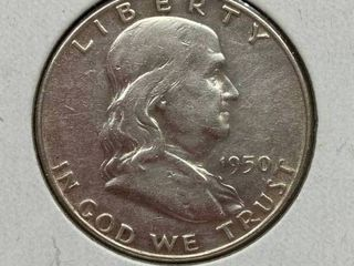 1950 Ben Franklin Silver Half Dollar