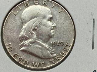 1949 Ben Franklin Silver Half Dollar