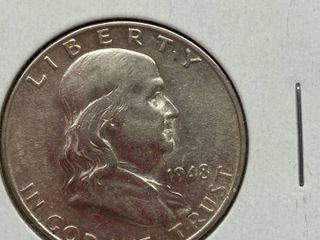 1948 D Ben Franklin Silver Half Dollar